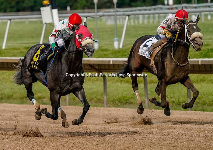 July 10, 2021: Miss Marissa #6, ridden by jockey Daniel Centeno wins the Delaware Park Handicap (Grade 2) at Delaware Park in Wilmington, Delaware on July 10, 2021. Scott Serio/Eclipse Sportswire/CSM