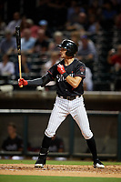 Birmingham Barons left fielder Jameson Fisher (7) at bat during a game against the Tennessee Smokies on August 16, 2018 at Regions FIeld in Birmingham, Alabama.  Tennessee defeated Birmingham 11-1.  (Mike Janes/Four Seam Images)
