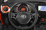 Steering wheel view of 2015 Toyota AYGO X-CITE 2WD MT 5 Door Micro Car 2WD Stock Photo