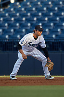 Tampa Tarpons first baseman Brandon Wagner (33) during a game against the Daytona Tortugas on April 18, 2018 at George M. Steinbrenner Field in Tampa, Florida.  Tampa defeated Daytona 12-0.  (Mike Janes/Four Seam Images)