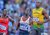 August 05, 2012: Usain Bolt of JAM, Dwain Chambers of GBR and Daniel Bailey of ANT compete in men's 100m semifinal at the Olympic Stadium on day nine of 2012 Olympic Games in London, United Kingdom.