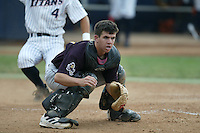Tuffy Gosewisch of the Arizona State Sun Devils waits for a throw to home plate during a game against the Cal State Fullerton Titans at Goodwin Field on June 6, 2003 in Fullerton, California. (Larry Goren/Four Seam Images)