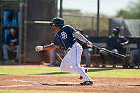 San Diego Padres infielder Eguy Rosario (1) starts down the first base line during an Instructional League game against the Milwaukee Brewers on September 27, 2017 at Peoria Sports Complex in Peoria, Arizona. (Zachary Lucy/Four Seam Images)