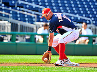 21 June 2010: Washington Nationals' infielder Ryan Zimmerman warms up prior to a game against the Kansas City Royals at Nationals Park in Washington, DC. The Nationals edged out the Royals 2-1 in the first game of their 3-game interleague series, snapping a 6-game losing streak. Mandatory Credit: Ed Wolfstein Photo