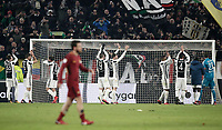 Calcio, Serie A: Juventus - AS Roma, Torino, Allianz Stadium, 23 dicembre, 2017. <br /> Juventus' players celebrate after winning 1-0 the Italian Serie A football match between Juventus and Roma at Torino's Allianz stadium, December 23, 2017.<br /> UPDATE IMAGES PRESS/Isabella Bonotto