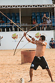 A Mbya Guarani archer from Argentina  prepares to loose his arrow during the International Indigenous Games, in the city of Palmas, Tocantins State, Brazil. Photo © Sue Cunningham, pictures@scphotographic.com 31st October 2015