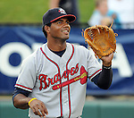 Infielder Edward Salcedo (15) of the Rome Braves in a game against the Greenville Drive on Aug. 9, 2010, at Fluor Field at the West End in Greenville, S.C. Photo by: Tom Priddy/Four Seam Images.