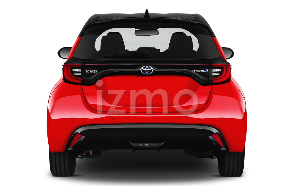 Straight rear view of 2020 Toyota Yaris Premier 5 Door Hatchback Rear View  stock images