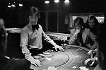Casino interior Isle of Man 1970s, people playing Blackjack gambling 1978
