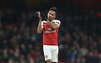 Arsenal's Pierre-Emerick Aubameyang applause the Arsenal fans at the end of the game<br /> <br /> Photographer Rob Newell/CameraSport<br /> <br /> UEFA Europa League First Leg - Arsenal v Napoli - Thursday 11th April 2019 - The Emirates - London<br />  <br /> World Copyright © 2018 CameraSport. All rights reserved. 43 Linden Ave. Countesthorpe. Leicester. England. LE8 5PG - Tel: +44 (0) 116 277 4147 - admin@camerasport.com - www.camerasport.com