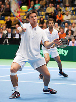 07-04-12, Netherlands, Amsterdam, Tennis, Daviscup, Netherlands-Rumania, Dubbels, Igor Sijsling(L) en Jean-Julien Rojer