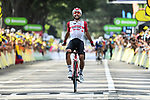 Thomas De Gendt (BEL) Lotto-Soudal from the breakaway wins Stage 8 of the 2019 Tour de France running 200km from Macon to Saint-Etienne, France. 13th July 2019.<br /> Picture: ASO/Alex Broadway   Cyclefile<br /> All photos usage must carry mandatory copyright credit (© Cyclefile   ASO/Alex Broadway)