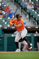 Norfolk Tides Christopher Bostick (1) bats during an International League game against the Buffalo Bisons on June 21, 2019 at Sahlen Field in Buffalo, New York.  Buffalo defeated Norfolk 2-1, the first game of a doubleheader.  (Mike Janes/Four Seam Images)