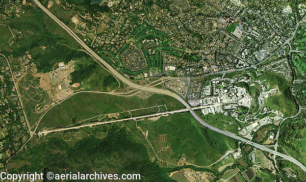 aerial photograph Sand Hill Road, Interstate 280, Stanford Linear Accelerator, Menlo Park, California