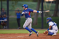 AZL Rangers Blaine Crim (60) at bat in front of Juan Zabala (60) during an Arizona League game against the AZL Dodgers Mota at Camelback Ranch on June 18, 2019 in Glendale, Arizona. AZL Dodgers Mota defeated AZL Rangers 13-4. (Zachary Lucy/Four Seam Images)