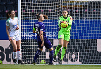 Goalkeeper Louise Van Den Bergh (1) of OHL pictured saving an attempt on goal during a female soccer game between Oud Heverlee Leuven and RSC Anderlecht on the 2nd matchday of play off 1 in the 2020 - 2021 season of Belgian Womens Super League , saturday 17 th of April 2021  in Heverlee , Belgium . PHOTO SPORTPIX.BE | SPP | DAVID CATRY
