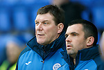 St Johnstone v Hamilton Accies....016.01.16  SPFL  McDiarmid Park, Perth<br /> Tommy Wright and Callum Davidson talk<br /> Picture by Graeme Hart.<br /> Copyright Perthshire Picture Agency<br /> Tel: 01738 623350  Mobile: 07990 594431