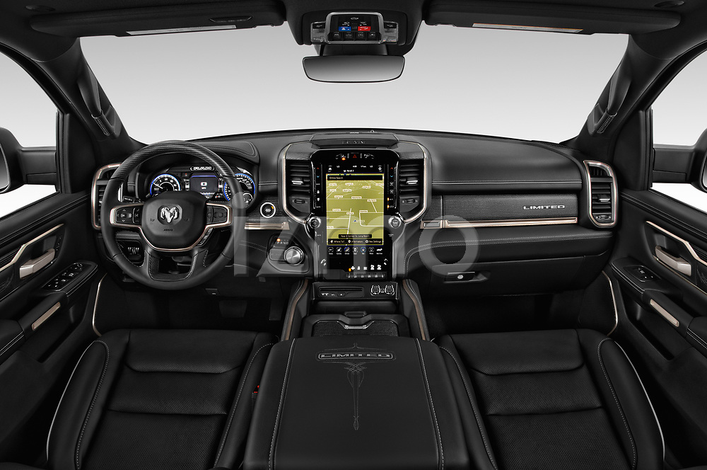 Stock photo of straight dashboard view of a 2019 Ram Ram 1500 Pickup Limited Crew Cab 4 Door Pick Up