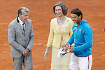 Spanish tennis Rafael Nadal with the tennis legend Manolo Santana  and Queen Sofia of Spain after Madrid Open Tennis 2015 Final match.May, 10, 2015.(ALTERPHOTOS/Acero)
