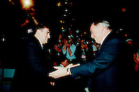 ID :  pr_95-04-7 and 8 3.jpg<br /> <br /> D&K :  Montreal, April 7, 1995 File Photo.<br /> (At that time) Leader of the Bloc Quebecois ; Lucien Bouchard and  (at that time) leader of the Parti Quebecois and Queber Premier ; Jacques Parizeau <br /> shakes hands in front of the press on the opening day of the Bloc Quebecoiscovention  in Montreal on June 1995.<br /> Lucien Bouchard replaced Jacques Parizeau as leader of the Parti Quebecois and also as Premier of Quebec Province. Jacques Parizeau is not a member of the Quebec parliament at this time (April 2000).<br /> <br /> Phoo by Pierre Roussel,(c)  1995
