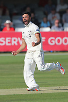 Zafar Gohar of Gloucestershire claims the wicket of Josh Rymell during Essex CCC vs Gloucestershire CCC, LV Insurance County Championship Division 2 Cricket at The Cloudfm County Ground on 5th September 2021