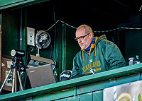 29 May 2021: Media Relations Director for the Vermont Lake Monsters Paul Stanfield watches play from the broadcast booth during a game against the Norwich Sea Unicorns at Centennial Field in Burlington, Vermont. The Lake Monsters defeated the Unicorns 6-3 in their FCBL Home Opener, the first home game played at Centennial Field post-Covid-19 pandemic. Mandatory Credit: Ed Wolfstein Photo *** RAW (NEF) Image File Available ***