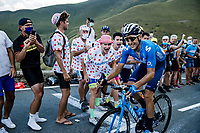 Carlos Verona (ESP/Movistar) cheered forward by (non face masked) fans <br /> <br /> Stage 8 from Cazères-sur-Garonne to Loudenvielle 141km<br /> 107th Tour de France 2020 (2.UWT)<br /> (the 'postponed edition' held in september)<br /> ©kramon