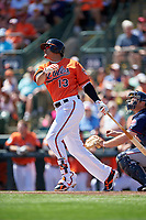 Baltimore Orioles third baseman Manny Machado (13) at bat during a Spring Training game against the Minnesota Twins on March 7, 2016 at Ed Smith Stadium in Sarasota, Florida.  Minnesota defeated Baltimore 3-0.  (Mike Janes/Four Seam Images)
