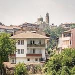 Church and housing above the Yantra River, Veliko Tarnovo, Bulgaria