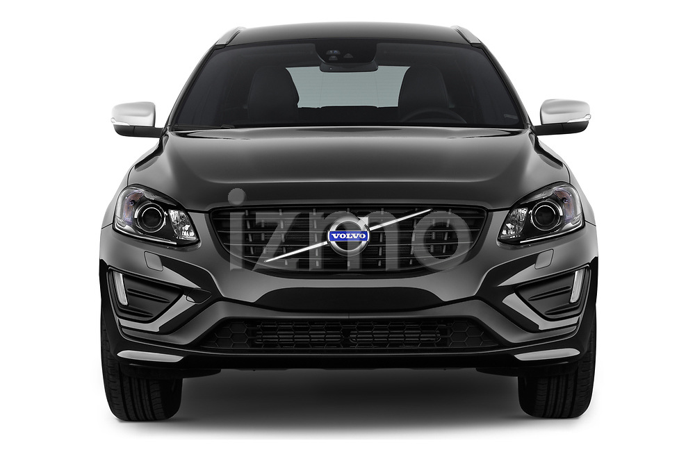 Car photography straight front view of a 2017 Volvo XC60 R-Design 5 Door SUV Front View