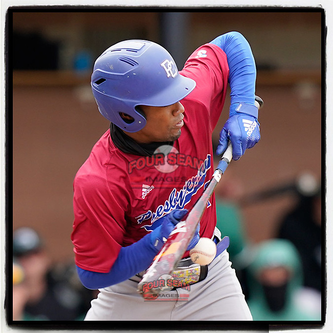 Zacchaeus Rasberry (4) of the Presbyterian College Blue Hose is hit in the hand as he squares to bunt in a game against the University of South Carolina Upstate Spartans on Tuesday, March 23, 2021, at Cleveland S. Harley Park in Spartanburg, South Carolina. He remained in the game. (Tom Priddy/Four Seam Images)