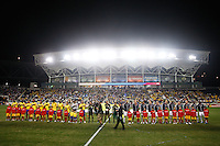 United States (USA) and Colombia (COL) starting lineups. The men's national teams of the United States (USA) and Colombia (COL) played to a 0-0 tie during an international friendly at PPL Park in Chester, PA, on October 12, 2010.