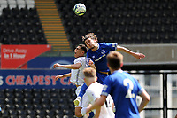 Ben Cabango of Swansea City u23's is injured after a collision with Fraser Hornby of Everton u23's during the Premier League Cup: Semi Final match between Swansea City and Everton at the Liberty Stadium in Swansea, Wales, UK.  Saturday 04 May 2019