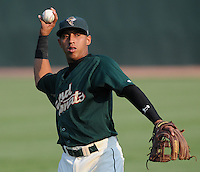 Infielder Wilfredo Tovar (2) of the Savannah Sand Gnats, Class A affiliate of the New York Mets, prior to a game against the West Virginia Power on July 21, 2011, at Grayson Stadium in Savannah, Georgia. (Tom Priddy/Four Seam Images)