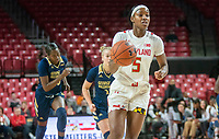 COLLEGE PARK, MD - NOVEMBER 20: Kaila Charles #5 of Maryland moves up court during a game between George Washington University and University of Maryland at Xfinity Center on November 20, 2019 in College Park, Maryland.