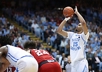 CHAPEL HILL, NC - FEBRUARY 25: Garrison Brooks #15 of the University of North Carolina shoots a free throw during a game between NC State and North Carolina at Dean E. Smith Center on February 25, 2020 in Chapel Hill, North Carolina.
