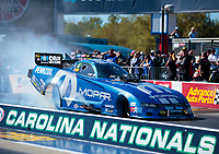 Oct 14, 2019; Concord, NC, USA; NHRA funny car driver Matt Hagan during the Carolina Nationals at zMax Dragway. Mandatory Credit: Mark J. Rebilas-USA TODAY Sports