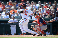 Baltimore Orioles infielder Alex Gonzalez (36) during a spring training game against the Boston Red Sox on March 8, 2014 at Ed Smith Stadium in Sarasota, Florida.  Baltimore defeated Boston 7-3.  (Mike Janes/Four Seam Images)
