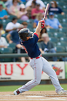 Oklahoma City RedHawks outfielder George Springer (8) swings the bat against the Round Rock Express during the Pacific Coast League baseball game on August 25, 2013 at the Dell Diamond in Round Rock, Texas. Round Rock defeated Oklahoma City 9-2. (Andrew Woolley/Four Seam Images)