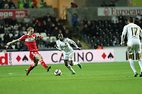 League Cup Quarter Final, Swansea V Middlesbrough, Liberty Stadium, 12/12/12<br /> Picture by: Ben Wyeth<br /> Pictured: (L-R) Nathan Dyer, Itay Shechter. <br /> Athena Picture Agency