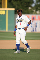 Johan Mieses (8) of the Rancho Cucamonga Quakes during a game against the Stockton Ports at Loan Mart Field on July 16, 2017 in Rancho Cucamonga, California. Rancho Cucamonga defeated Stockton 9-1. (Larry Goren/Four Seam Images)