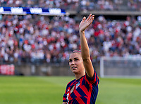 EAST HARTFORD, CT - JULY 5: Alex Morgan #13 of the USWNT waves to the crowd during a game between Mexico and USWNT at Rentschler Field on July 5, 2021 in East Hartford, Connecticut.