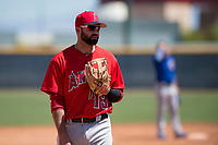 Los Angeles Angels third baseman Kaleb Cowart (13) during an Extended Spring Training game against the Chicago Cubs at Sloan Park on April 14, 2018 in Mesa, Arizona. (Zachary Lucy/Four Seam Images)