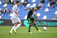 Francesco Caputo of US Sassuolo scores the goal of 2-0 for his side <br /> Reggio Emilia 22/09/2019 Stadio Citta del Tricolore <br /> Football Serie A 2019/2020 <br /> US Sassuolo - SPAL <br /> Photo Andrea Staccioli / Insidefoto