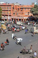 Jaipur, Rajasthan, India.  Mid-day Traffic in Downtown Jaipur.