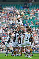 George Robson of Harlequins takes the lineout ball during the Aviva Premiership match between London Wasps and Harlequins at Twickenham on Saturday 1st September 2012 (Photo by Rob Munro).