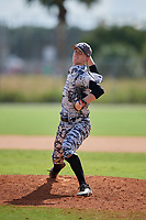 Nick Clayton during the WWBA World Championship at the Roger Dean Complex on October 20, 2018 in Jupiter, Florida.  Nick Clayton is a right handed pitcher from York, South Carolina who attends York Comprehensive High School and is committed to Clemson.  (Mike Janes/Four Seam Images)