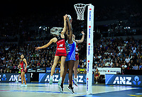 Jane Watson and Grace Nweke compete for the ball during the ANZ Premiership netball final between Northern Mystics and Mainland Tactix at Spark Arena in Auckland, New Zealand on Sunday, 8 August 2021. Photo: Dave Lintott / lintottphoto.co.nz