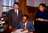 Montreal. CANADA -    File Photo circa 1990 - <br /> Jean Dore, Montreal Mayor meet with Haiti President Aristide.<br /> <br /> File Photo : Agence Quebec Pressse  - Pierre Roussel
