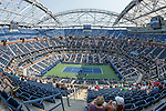The unfinished roof over Arthur Ashe Stadium at the US Open in Flushing, NY on September 3, 2015.